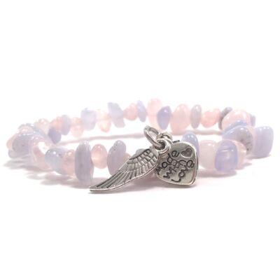 Kalcedon és rózsakvarc szemcse karkötő szívvel és angyalszárnnyal